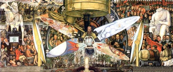Diego Rivera, «El hombre controlador del universo o El hombre en la máquina del tiempo», 1934, Palacio de Bellas Artes, Ciudad de Mexico